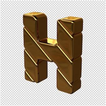 Letters gemaakt van goudstaven naar links gedraaid op een transparante achtergrond. 3d-hoofdletter h
