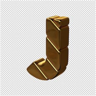 Letters gemaakt van goudstaven naar links gedraaid op een transparante achtergrond. 3d-hoofdletter j