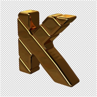 Letters gemaakt van goudstaven naar links gedraaid op een transparante achtergrond. 3d-hoofdletter k