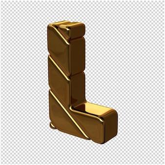 Letters gemaakt van goudstaven naar links gedraaid op een transparante achtergrond. 3d-hoofdletter l