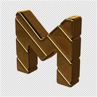 Letters gemaakt van goudstaven naar links gedraaid op een transparante achtergrond. 3d-hoofdletter m