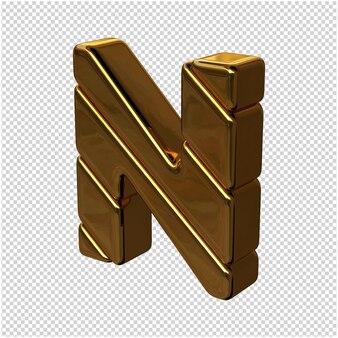 Letters gemaakt van goudstaven naar links gedraaid op een transparante achtergrond. 3d-hoofdletter n