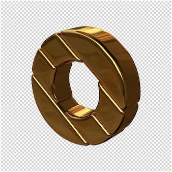 Letters gemaakt van goudstaven naar links gedraaid op een transparante achtergrond. 3d-hoofdletter o