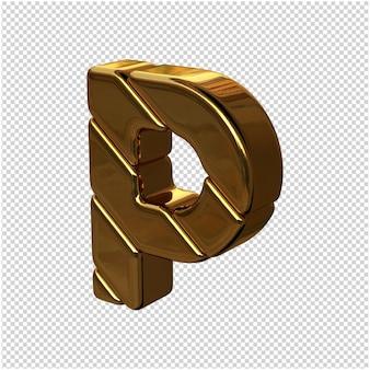 Letters gemaakt van goudstaven naar links gedraaid op een transparante achtergrond. 3d-hoofdletter p