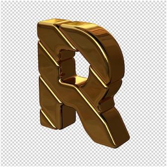 Letters gemaakt van goudstaven naar links gedraaid op een transparante achtergrond. 3d-hoofdletter r