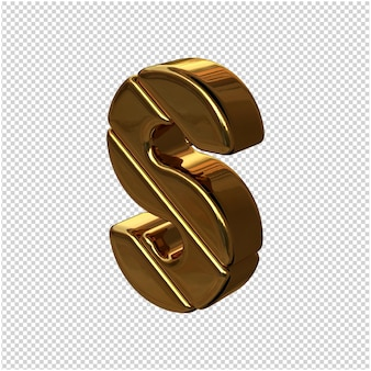Letters gemaakt van goudstaven naar links gedraaid op een transparante achtergrond. 3d-hoofdletter s