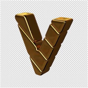 Letters gemaakt van goudstaven naar links gedraaid op een transparante achtergrond. 3d-hoofdletter v