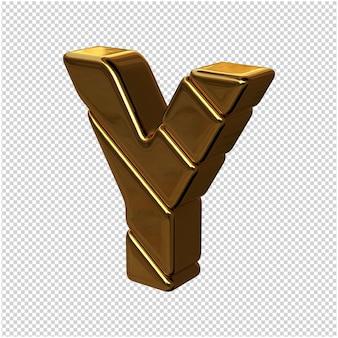 Letters gemaakt van goudstaven naar links gedraaid op een transparante achtergrond. 3d-hoofdletter y