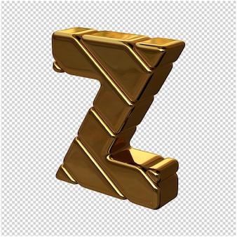 Letters gemaakt van goudstaven naar links gedraaid op een transparante achtergrond. 3d-hoofdletter z
