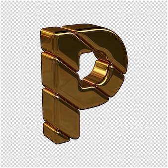 Letters gemaakt van goudstaven naar rechts gedraaid op een transparante achtergrond. 3d-hoofdletter p