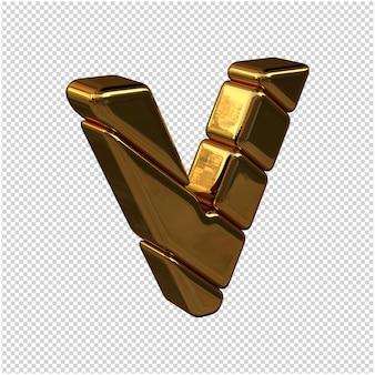 Letters gemaakt van goudstaven naar rechts gedraaid op een transparante achtergrond. 3d-hoofdletter v Premium Psd