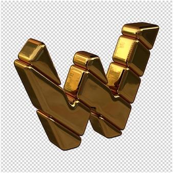 Letters gemaakt van goudstaven naar rechts gedraaid op een transparante achtergrond. 3d-hoofdletter w