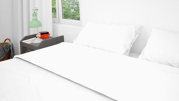 Letto matrimoniale con cuscini bianchi e lenzuola, primo piano