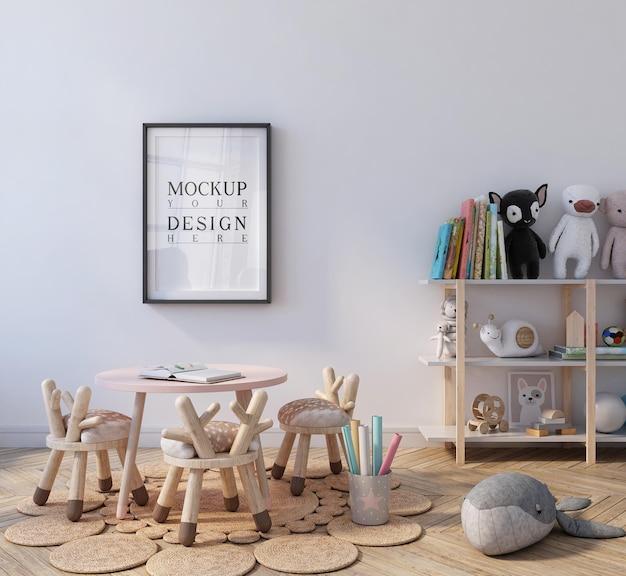 Leuk klaslokaal van de kleuterschool met mockup-poster