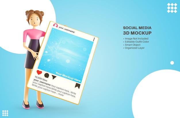 Leuk meisje karakter met instagram apps sociale media plaatsen 3d cartoon rendering mockup