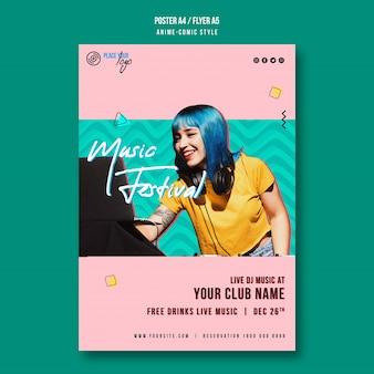 Leuk meisje muziekfestival poster sjabloon