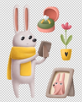 Leuk weinig konijn in reeks van de liefde de hand getrokken illustratie