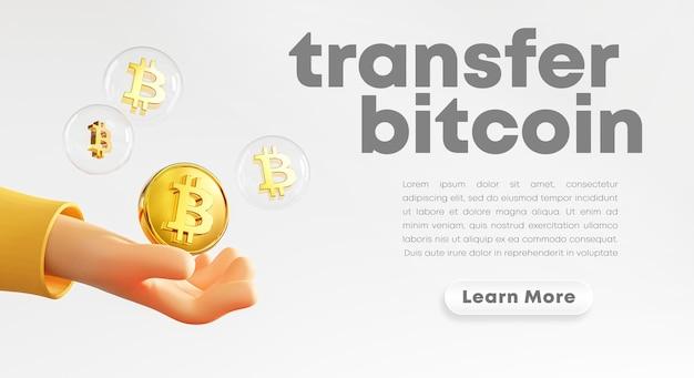 Leuke hand met bitcoin bubble rendering