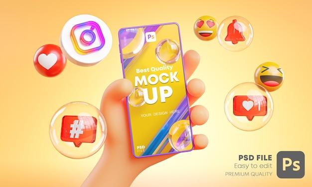 Leuke hand met telefoon instagram pictogrammen rond 3d-rendering mockup Premium Psd