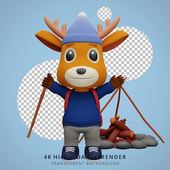 Leuke herten camping mascotte 3d karakter illustratie gelukkig