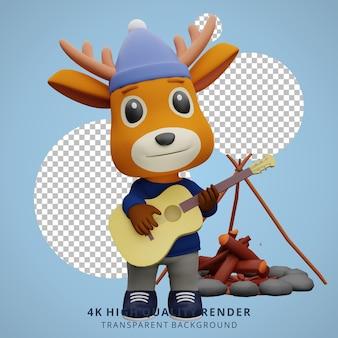 Leuke herten camping mascotte 3d karakter illustratie gitaar spelen