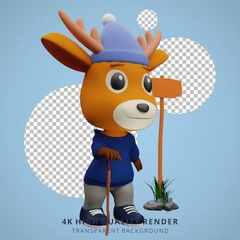Leuke herten camping mascotte 3d karakter illustratie lopen