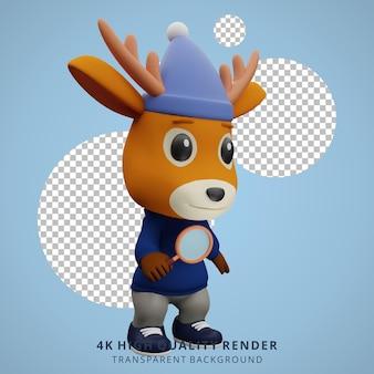 Leuke herten camping mascotte 3d karakter illustratie met een vergrootglas
