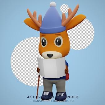 Leuke herten camping mascotte 3d karakter illustratie open kaart