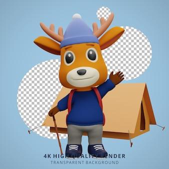 Leuke herten camping mascotte 3d karakter illustratie zwaaien