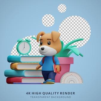 Leuke hond terug naar school mascotte 3d karakter illustratie met een boek