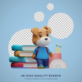 Leuke hond terug naar school mascotte 3d karakter illustratie