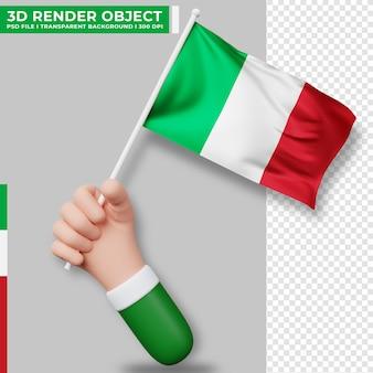 Leuke illustratie van de hand met de vlag van italië. italië onafhankelijkheidsdag. land vlag.