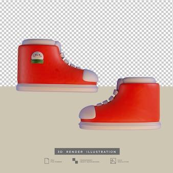 Leuke kerst rode schoenen met sneeuwpop zijaanzicht 3d illustratie