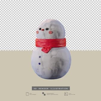 Leuke kerst sneeuwpop klei stijl zijaanzicht 3d illustratie