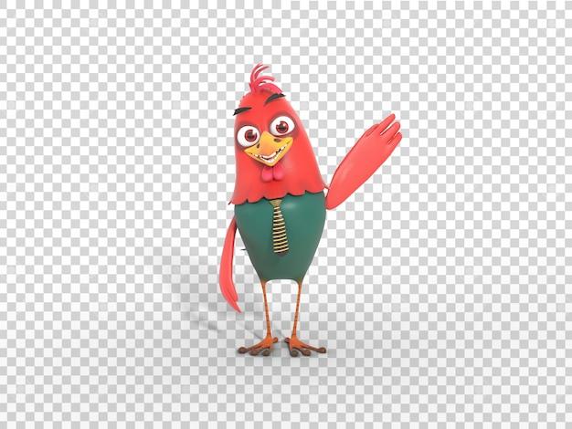 Leuke kleurrijke 3d karakter mascotte illustratie zwaaien hand met transparante achtergrond