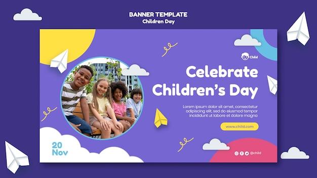Leuke kleurrijke horizontale bannersjabloon voor kinderen
