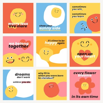 Leuke positieve citaten sjablonen psd doodle smiley emoticons social media post set