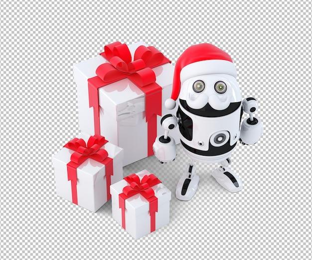Leuke robot kerstman met geschenkdozen. technologie kerstconcept