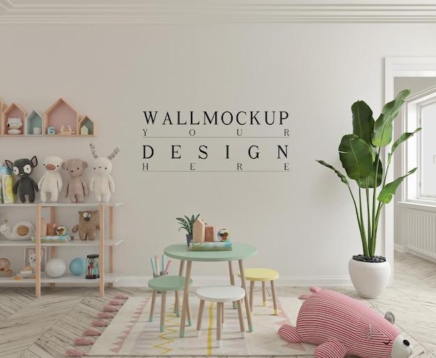 Leuke speelkamer voor kinderen met mockup-muur