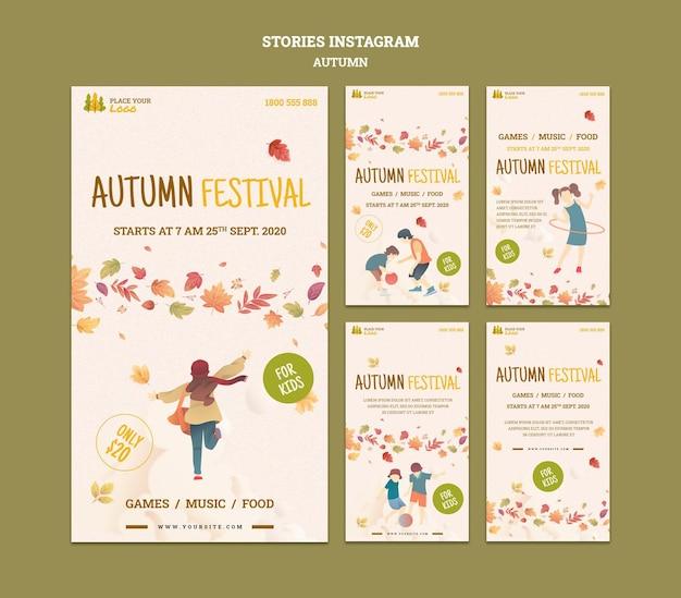 Leuke tijd op herfstfestival voor instagram-verhalen voor kinderen