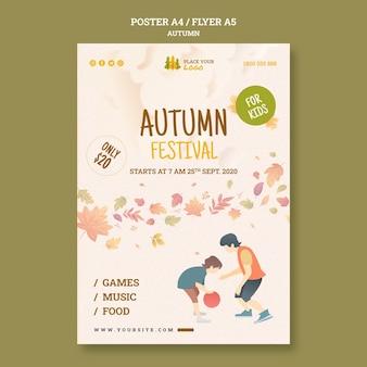 Leuke tijd op herfstfestival voor kinderen folder sjabloon