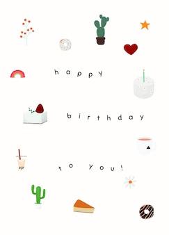 Leuke verjaardagswenssjabloon psd met gelukkige verjaardag voor jou tekst