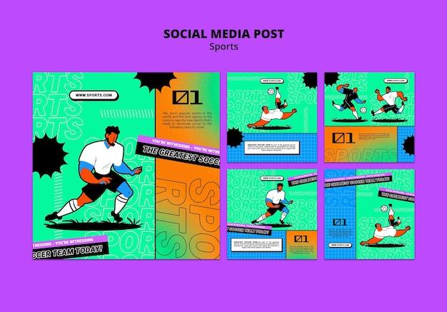 Levendige illustratie voetbal sjabloon social media post