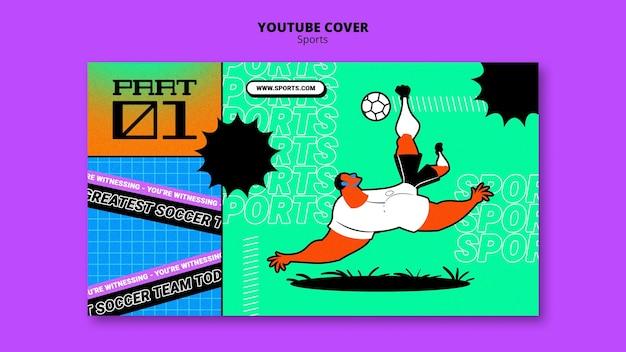 Levendige illustratie voetbal sjabloon youtube cover