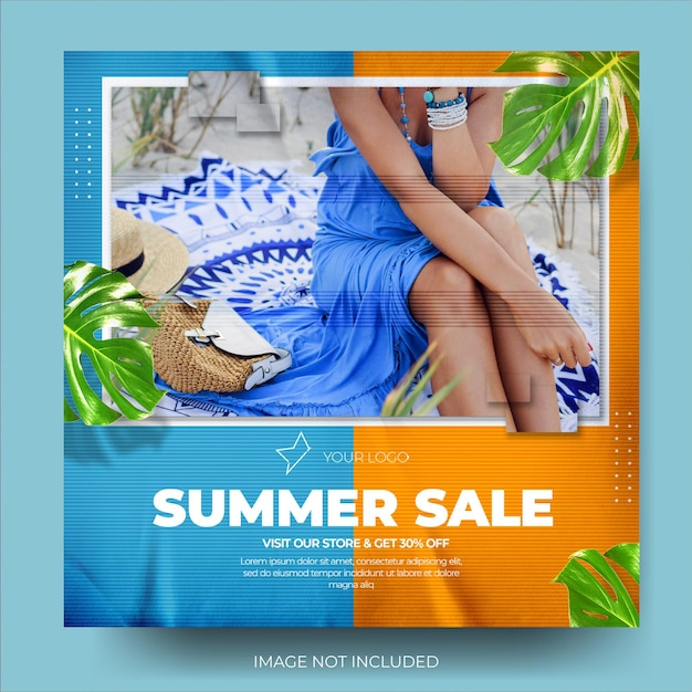 Levendige mode zomerverkoop instagram postfeed