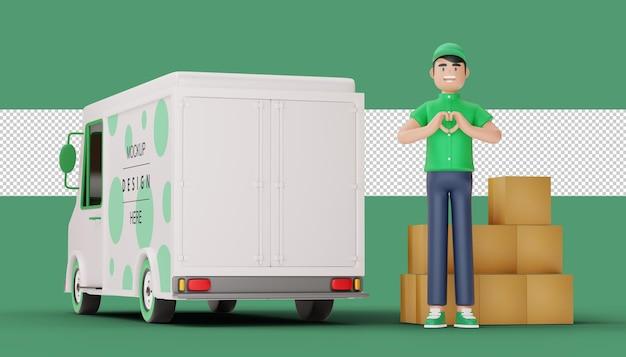 Levering man doet een hartvorm en pakketdoos met vrachtwagen in 3d-rendering