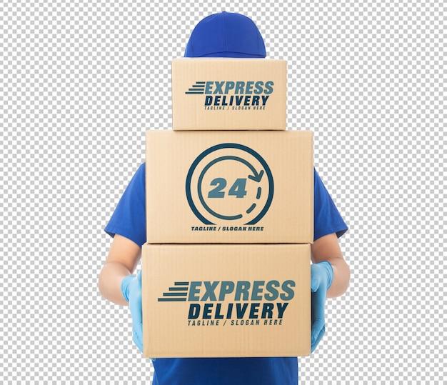 Levering man hand in medische handschoenen met kartonnen doos mockup sjabloon