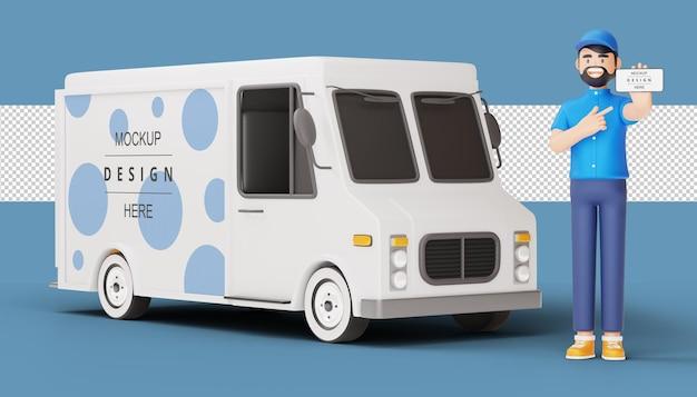 Levering man houdt telefoon met bestelwagen in 3d-rendering