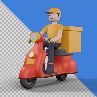Levering man met scooter in geïsoleerd 3d-afbeelding ontwerp