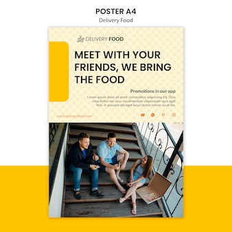 Levering voedsel poster sjabloon